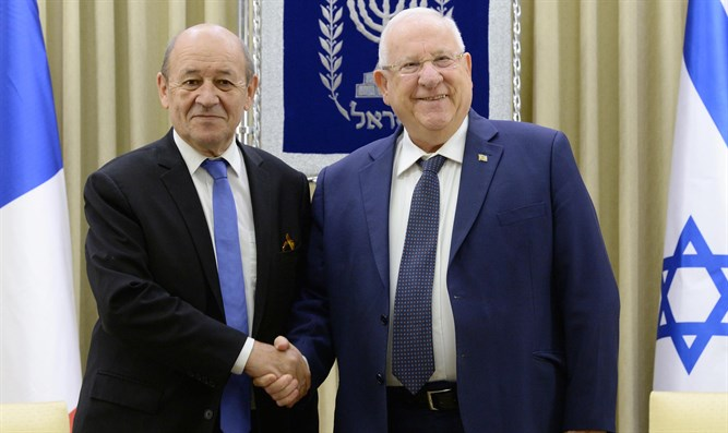 President Rivlin and French Foreign Minister Jean-Yves Le Drian