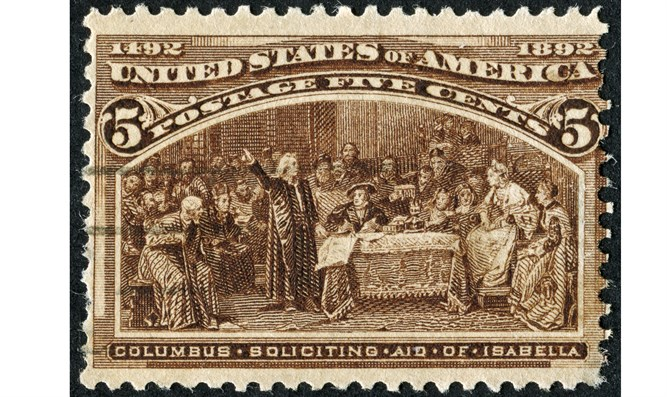Christopher Columbus Soliciting Aid Of Isabella Stamp