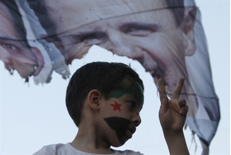 A child at Syrian rebel rally