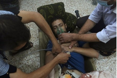 Victim of gas attack in Syria