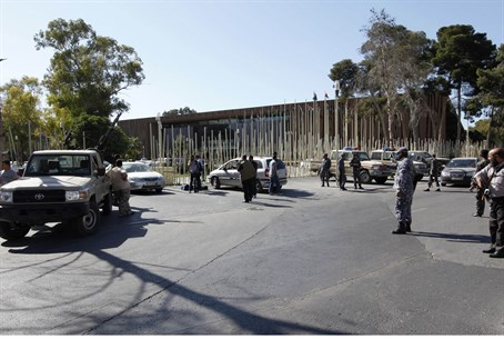 Security at the entrance to the Libyan parlia