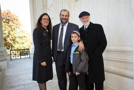 Alyza Lewin, Ari and Menachem Zivotofsky, and Nathan Lewin at Supreme Court