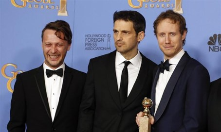 Son of Saul director Laszlo Nemes , (R).