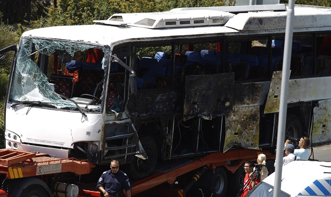 Bus damaged in Burgas attack