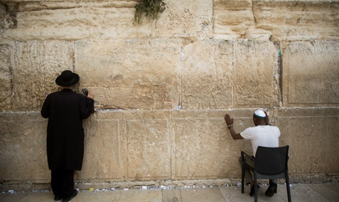Jews pray at the Western Wall