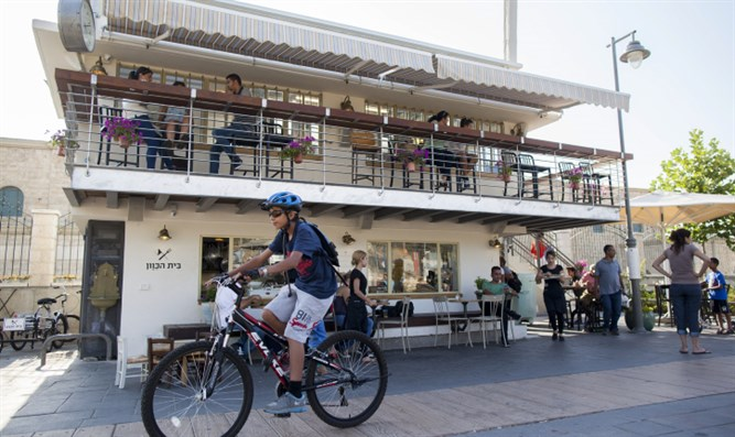 Jerusalem's 'First Station' promenade, where WeWork sukkah is located