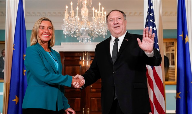 Federica Mogherini and Mkie Pompeo